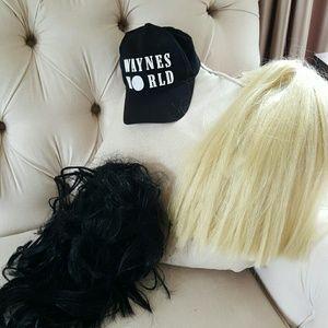 Halloween Waynes World cap, black wig, blonde wig